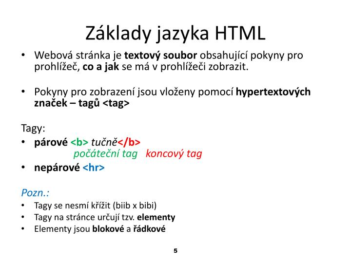Základy jazyka HTML