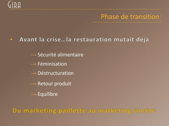 Phase de transition