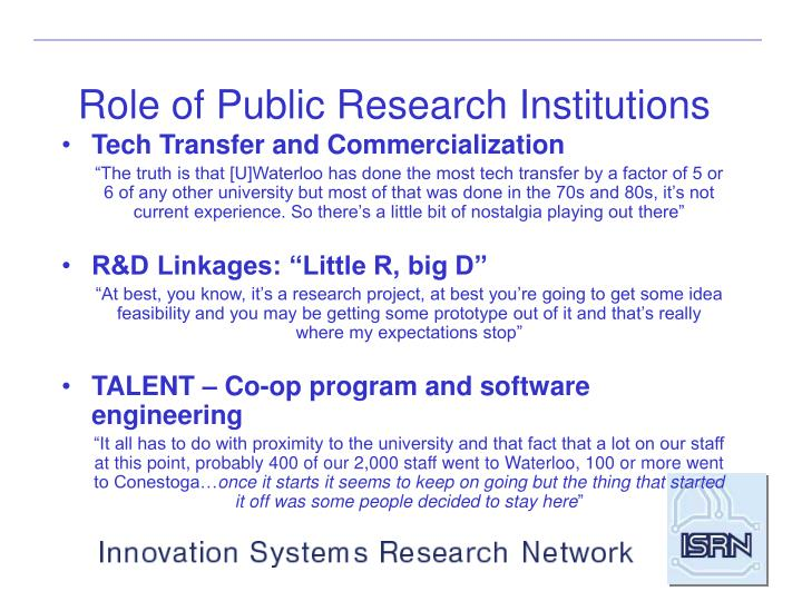 Role of Public Research Institutions