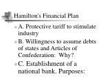 hamilton s financial plan
