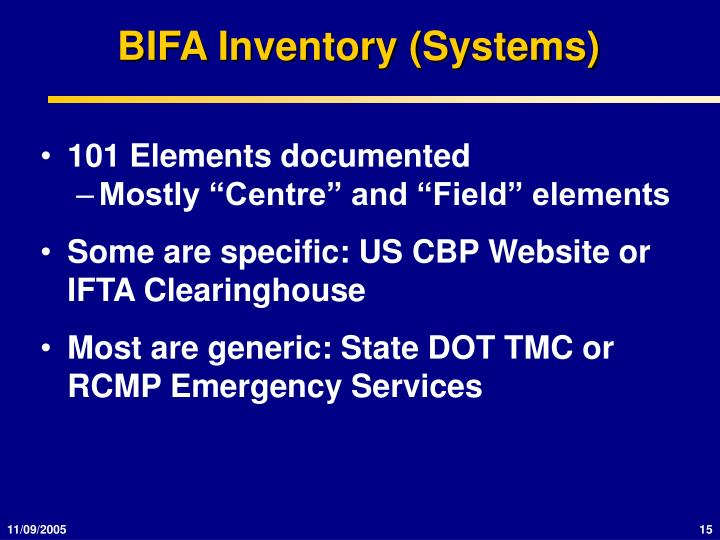 BIFA Inventory (Systems)