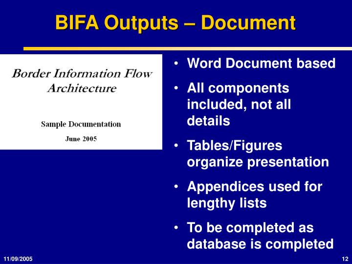 BIFA Outputs – Document