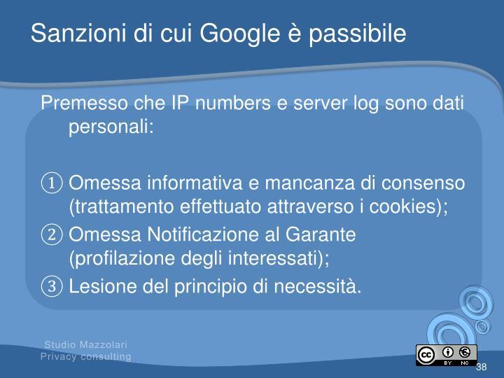 Sanzioni di cui Google è passibile