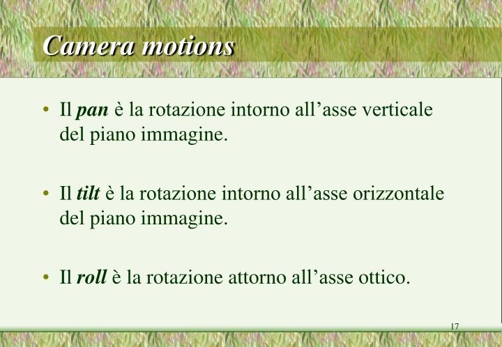 Camera motions