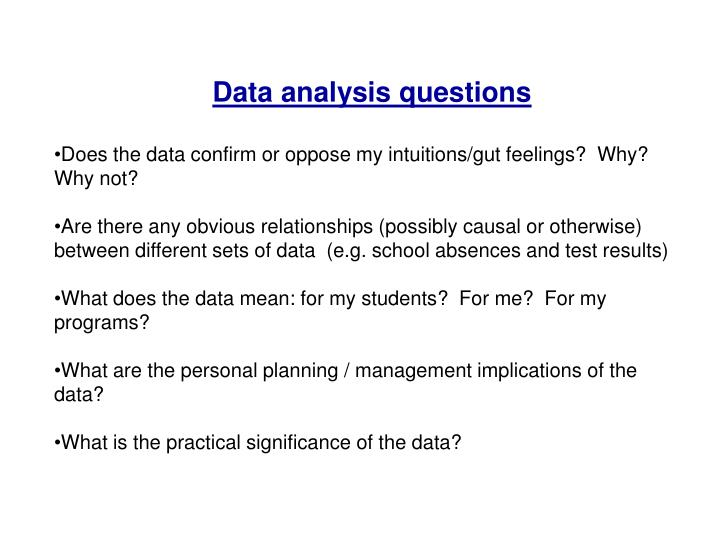 Data analysis questions