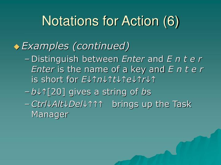 Notations for Action (6)