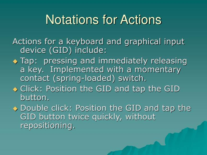 Notations for Actions