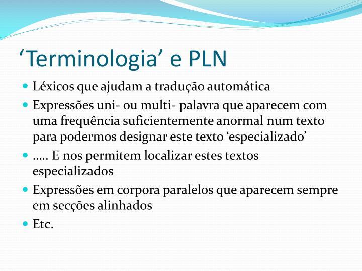 'Terminologia' e PLN