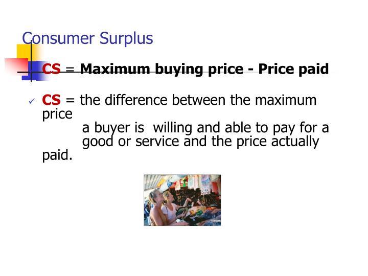 Consumer Surplus