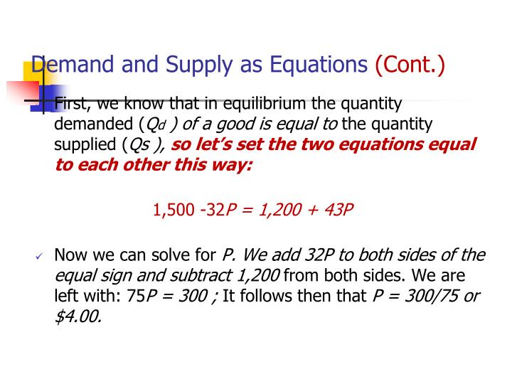 Demand and Supply as Equations
