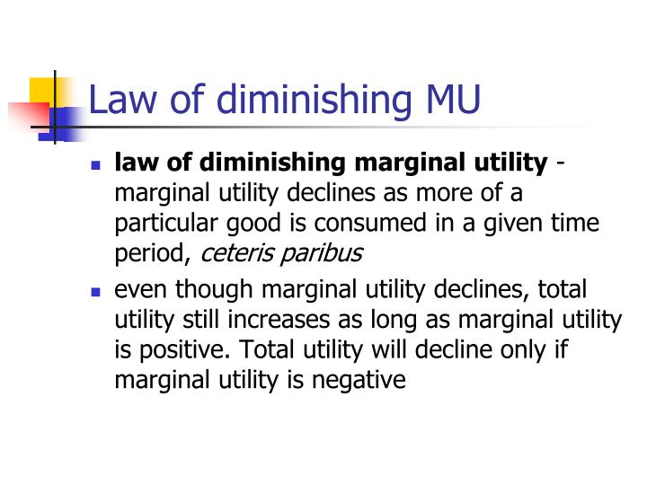 Law of diminishing MU