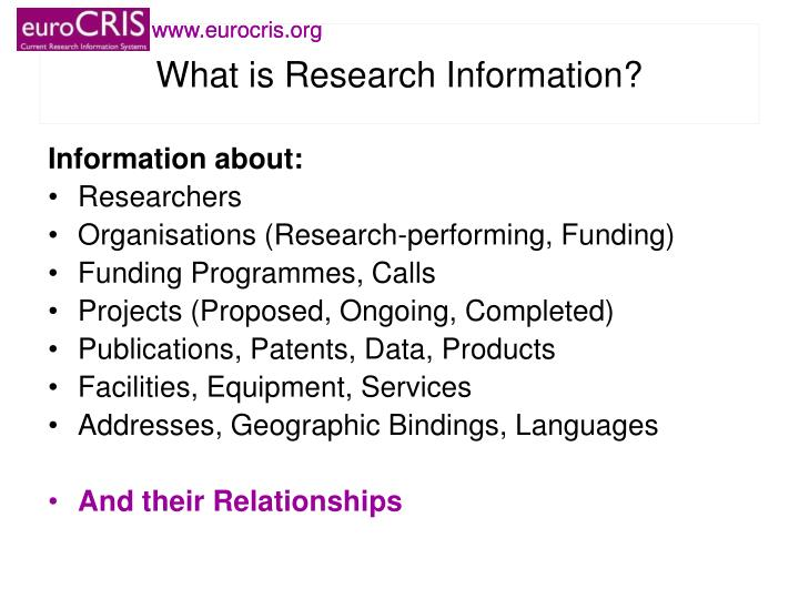 What is research information
