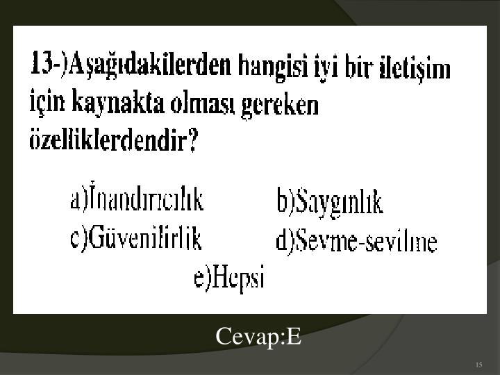Cevap:E
