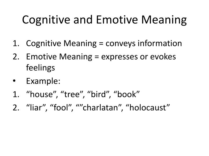 Cognitive and Emotive Meaning