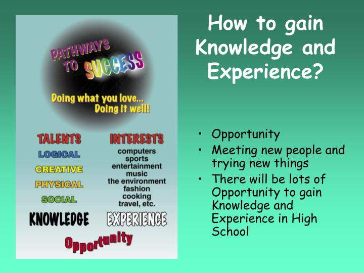 How to gain Knowledge and Experience?