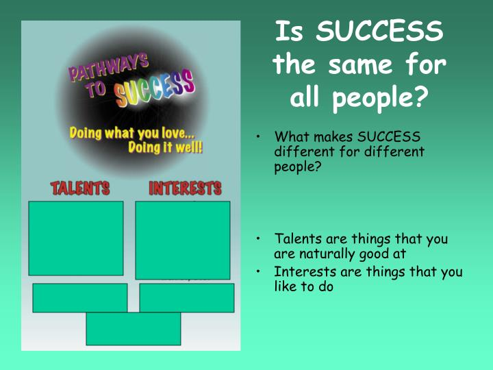 Is SUCCESS the same for all people?