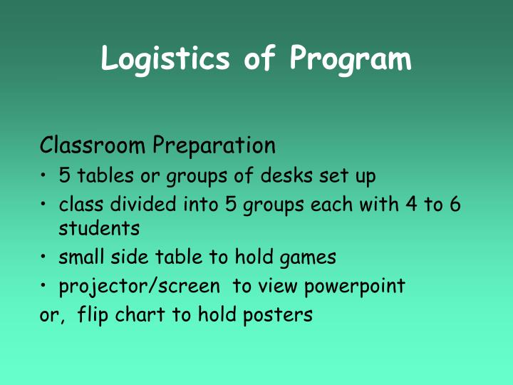 Logistics of Program