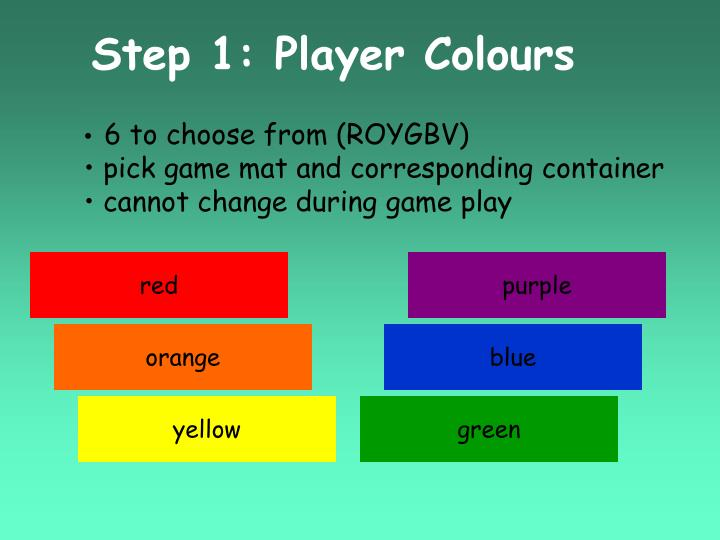 Step 1: Player Colours