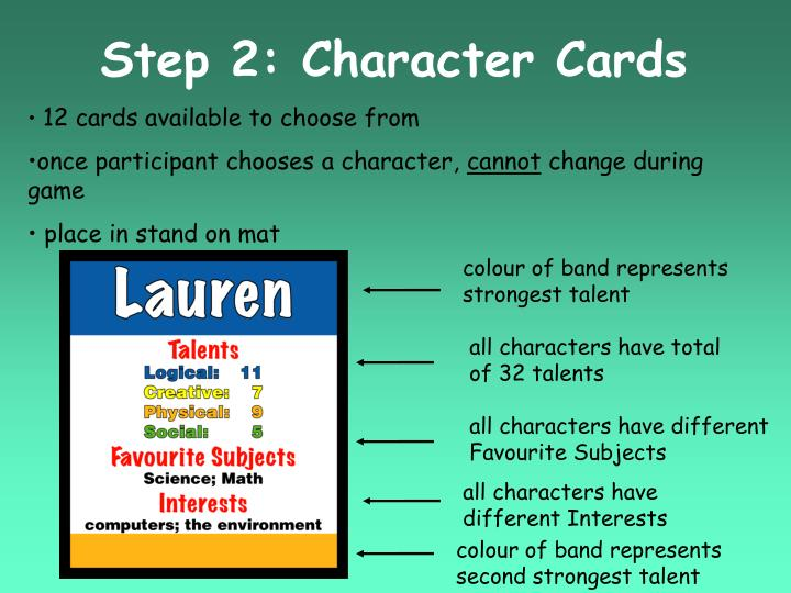 Step 2: Character Cards