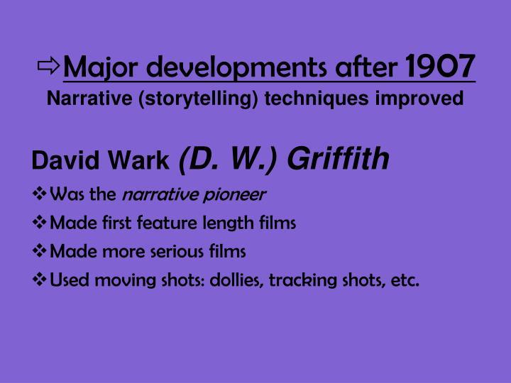 Major developments after