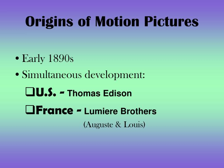 Origins of motion pictures