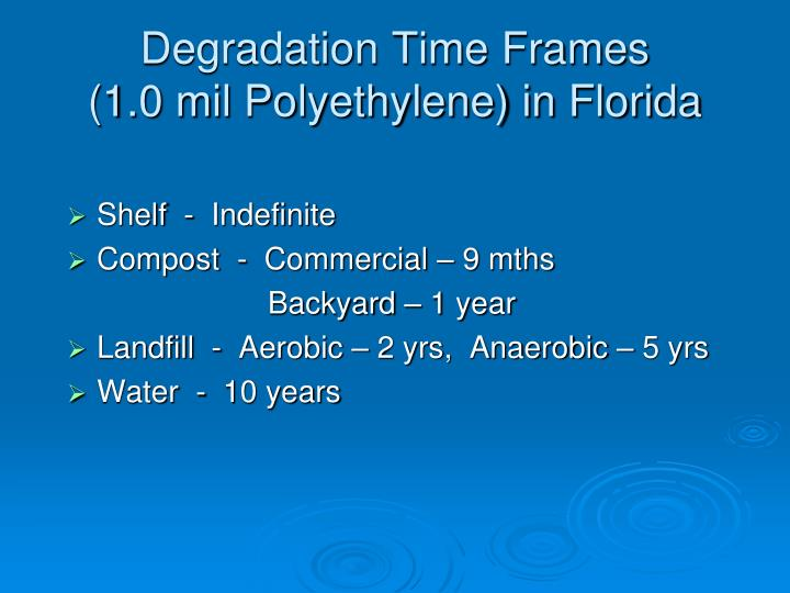 Degradation Time Frames