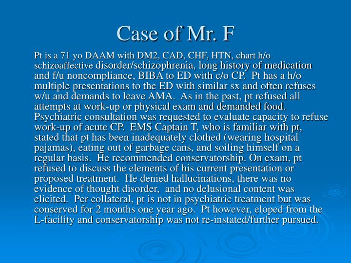 Case of Mr. F