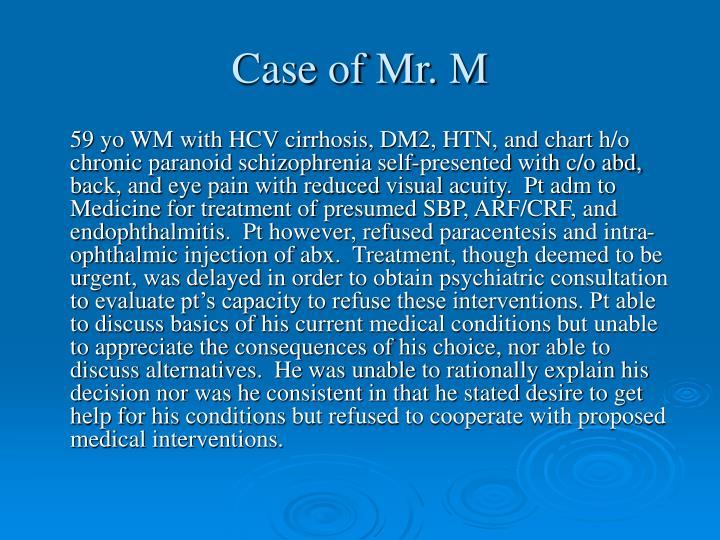 Case of Mr. M