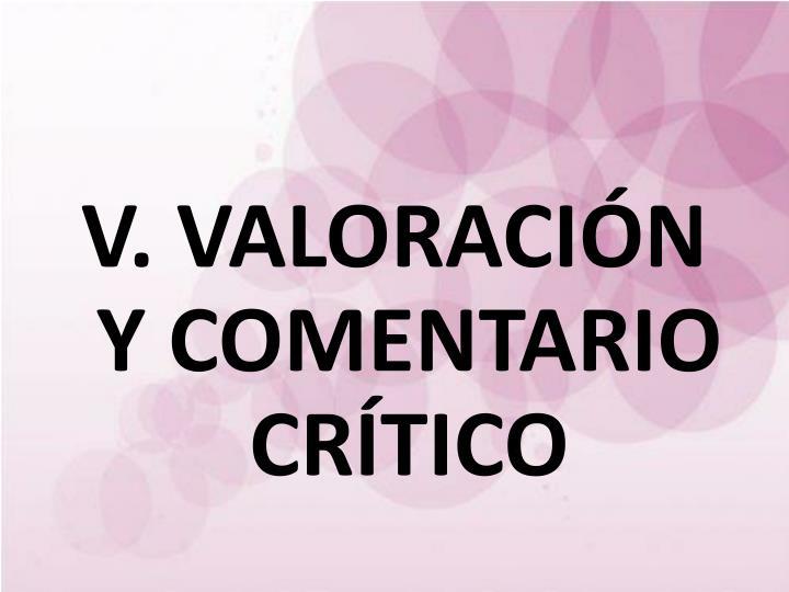 V. VALORACIÓN Y