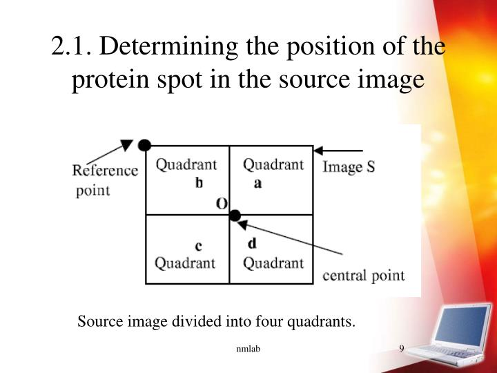 2.1. Determining the position of the protein spot in the source image