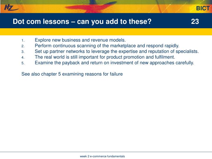 Dot com lessons – can you add to these?