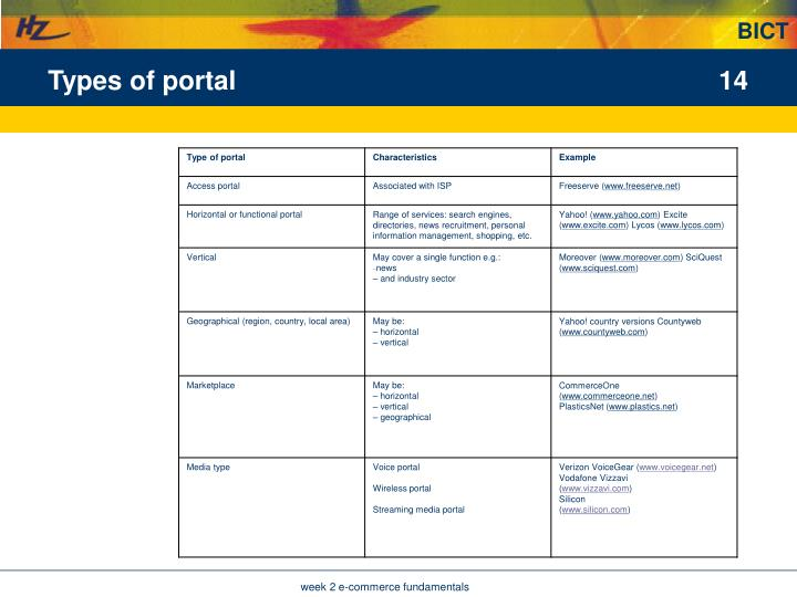 Types of portal