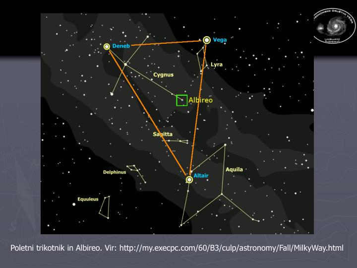 Poletni trikotnik in Albireo. Vir: