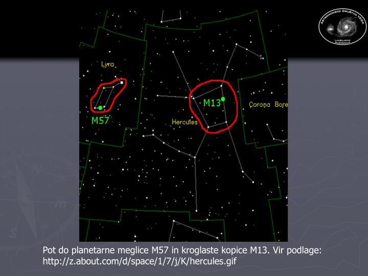 Pot do planetarne meglice M57 in kroglaste kopice M13. Vir podlage: