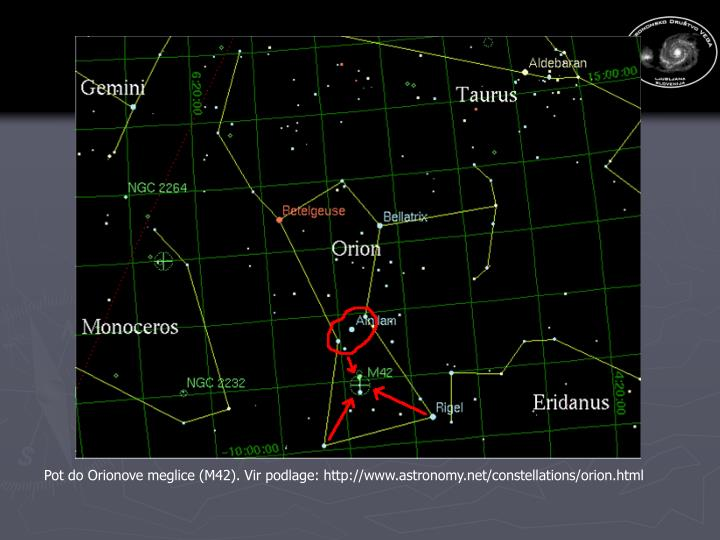 Pot do Orionove meglice (M42). Vir podlage: http://www.astronomy.net/constellations/orion.html