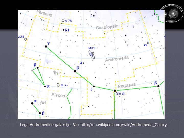 Lega Andromedine galaksije. Vir: