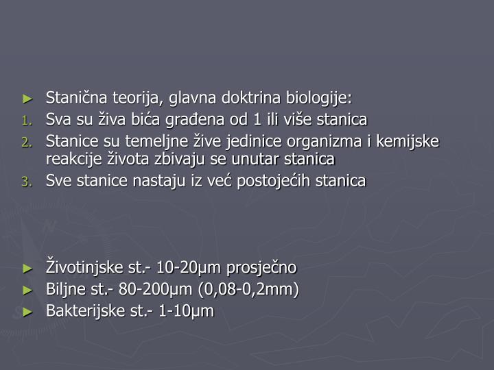 Stanična teorija, glavna doktrina biologije: