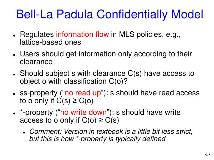 Bell-La Padula Confidentially Model