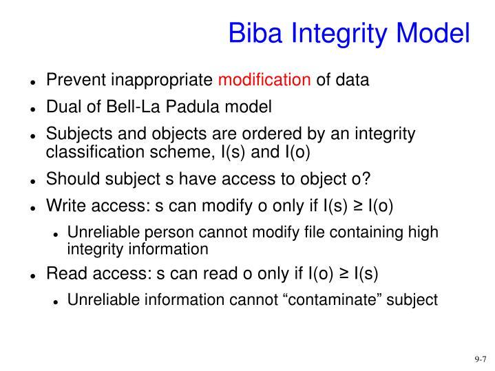 Biba Integrity Model