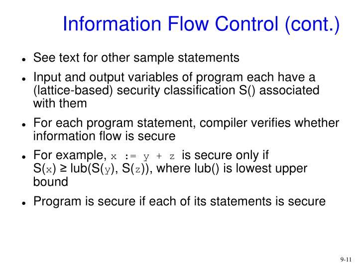 Information Flow Control (cont.)
