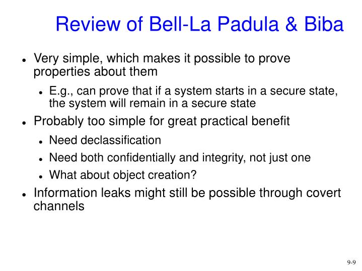 Review of Bell-La Padula & Biba