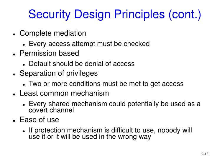 Security Design Principles (cont.)