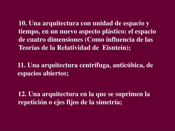 10. Una arquitectura con unidad de espacio y tiempo, en un nuevo aspecto plástico: el espacio de cuatro dimensiones (Como influencia de las Teorías de la Relatividad de  Eisntein);
