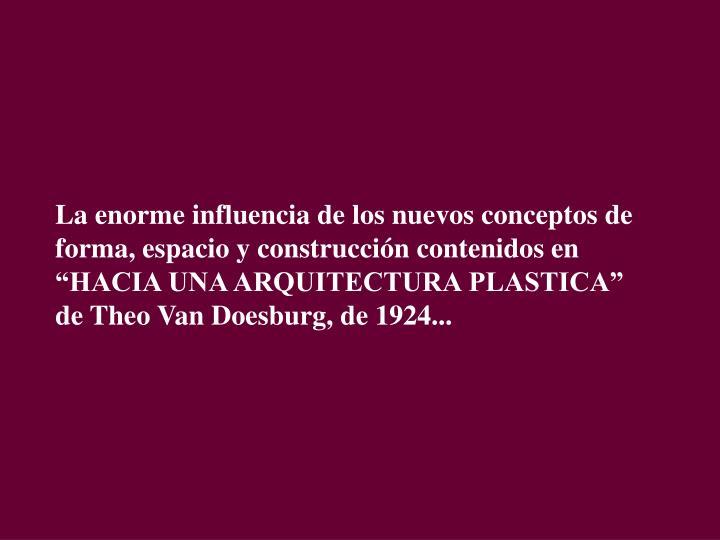 """La enorme influencia de los nuevos conceptos de forma, espacio y construcción contenidos en """"HACIA UNA ARQUITECTURA PLASTICA"""" de Theo Van Doesburg, de 1924..."""