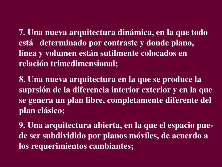 7. Una nueva arquitectura dinámica, en la que todo está   determinado por contraste y donde plano, línea y volumen están sutilmente colocados en relación trimedimensional;