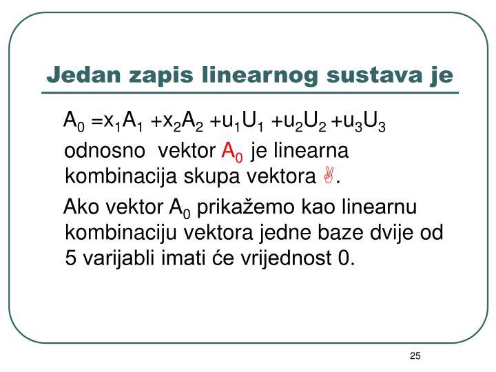 Jedan zapis linearnog sustava je