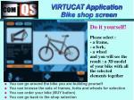 virtucat application bike shop screen