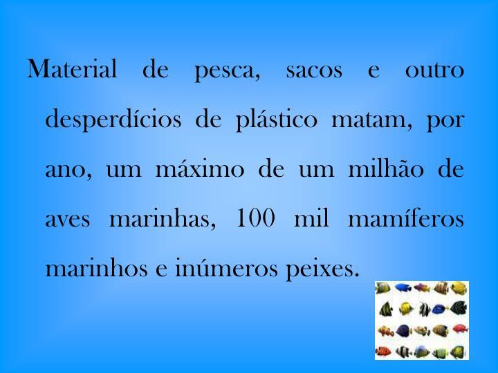 Material de pesca, sacos e outro desperdícios de plástico matam, por ano, um máximo de um milhão de aves marinhas, 100 mil mamíferos marinhos e inúmeros peixes.