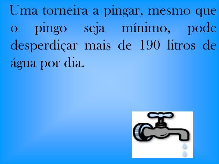 Uma torneira a pingar, mesmo que o pingo seja mínimo, pode desperdiçar mais de 190 litros de água por dia.