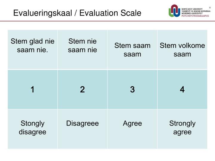 Evalueringskaal / Evaluation Scale